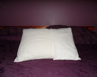 Pillowcase,  1940s, white cotton, embroidered.