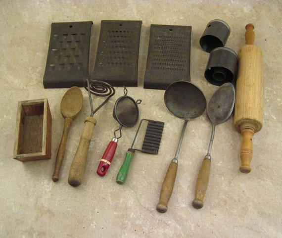 Antique Kitchen Tools For Rustic Primitive Decor By