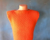 vintage knit dress, bright orange, 1970's fashion, form fitting, wiggle dress, size 12/14, cross dresser, from Diz Has Neat Stuff