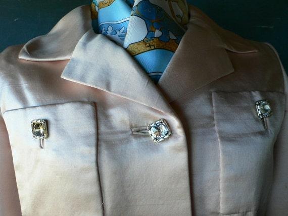 1960's jacket/dress soft pink silk like rhinestone buttons from Diz Has Neat Stuff