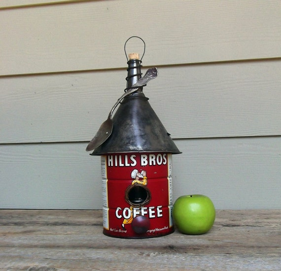 Vintage Coffee Can Birdhouse, Whimsical Birdhouse, Repurposed, Vintage Funnel, Decorative or Outdoor Birdhouse, Recycled, Reclaimed
