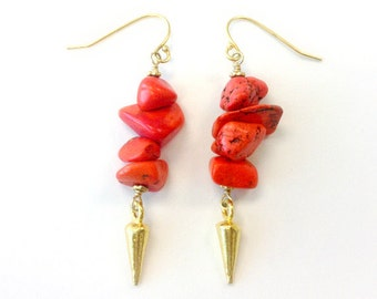 Coral Earrings - Gold Vermeil Spike Jewelry - Hipster Jewellery - Modern Point Arrow Natural Gemstone