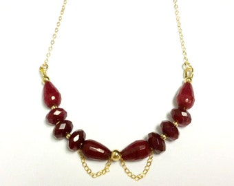 Red Ruby Quartz Necklace - Yellow Gold Jewelry - July Birthstone Jewellery - Modern - Gemstone - Chain - Crimson - Teardrop