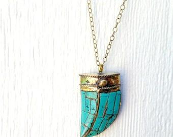Horn Necklace - Tusk Necklace - Turquoise Necklace - Turquoise Jewelry - Tibetan Tusk - Boho Jewellery - Brass - Gemstone - LongJewelry