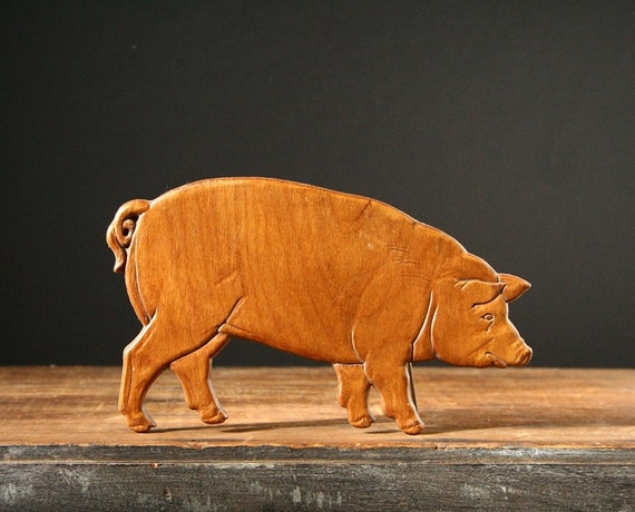 Pig Wall Plaque Hand Carved Wooden Pig