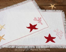 Linen Underwater Treasury Placemats. White Natural Linen. Hand Embroidered Corals and Starfish. Ready to Ship.