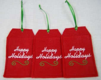 Embroidered Gift Card Holder Ornament