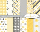 Yellow and Gray Elephant Digital Scrapbook Paper Pack --   Cooper Yellow&Gray  -- INSTANT DOWNLOAD