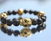 Skull lava stone stack able bracelet