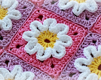 Crochet Pattern - Crochet 3D Flower Baby Blanket (Pattern No. 003) - INSTANT DIGITAL DOWNLOAD