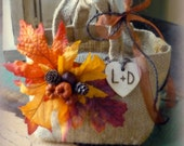 Burlap Bag Flower Girl Basket with Pumpkins and Leaves Rustic FALL Wedding Decor Personalized Wood Heart Charm
