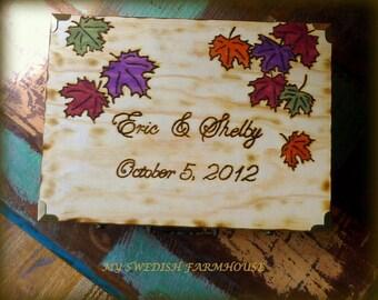 Fall Leaves Card Box Personalized Love Letter Ceremony Rustic Wedding Anniversary Wine Memory Keepsake Box