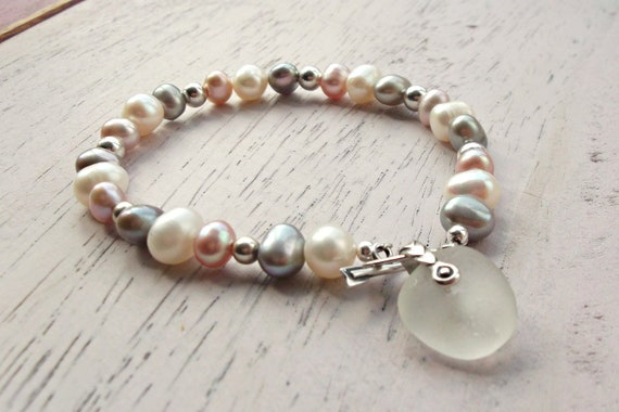 Freshwater Pearl & Sea Glass Sterling silver Bracelet