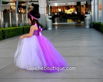 Flower girl dress Princess Wisteria TuTu Dress with a train. baby tutu dress, toddler tutu dress, wedding, birthday,