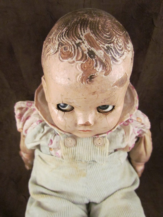 Vintage Creepy Baby Doll original clothes Odditie
