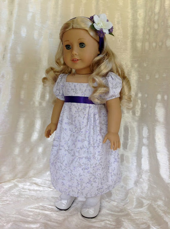 American Girl 1812 Lavender and purple doll dress