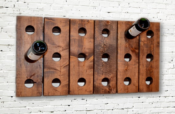 Wine Rack Riddling Horizontal Wood Wall Hanging
