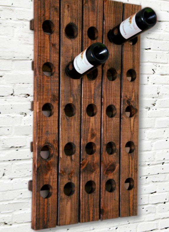 Rustic wine rack riddling style wall hanging Hanging wooden wine rack