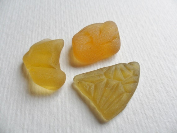 Trio of gorgeous textured yellow and olive coloured sea glass from England