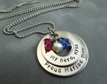 Personalized Military Mom hand stamped stainless steel necklace
