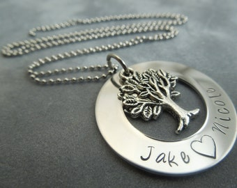 Family tree necklace hand stamped stainless steel