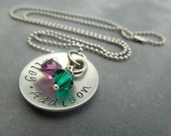 Mothers necklace, hand stamped stainless steel