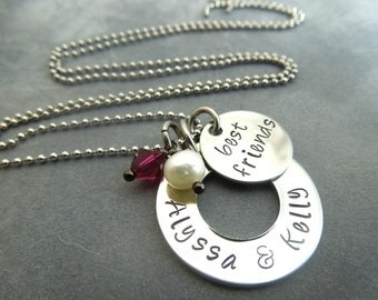 Personalized Best friends necklace , hand stamped stainless steel