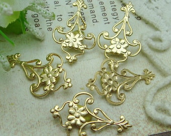 6pcs Gold Plated  Flower Filigree Charms,15X24mm . NICKEL FREE