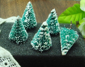 10 bottle brush trees TEAL (18mmx25mm)in vintage shabby style decoration