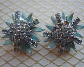 Vintage Blue Enamel and Blue Rhinestone Earrings