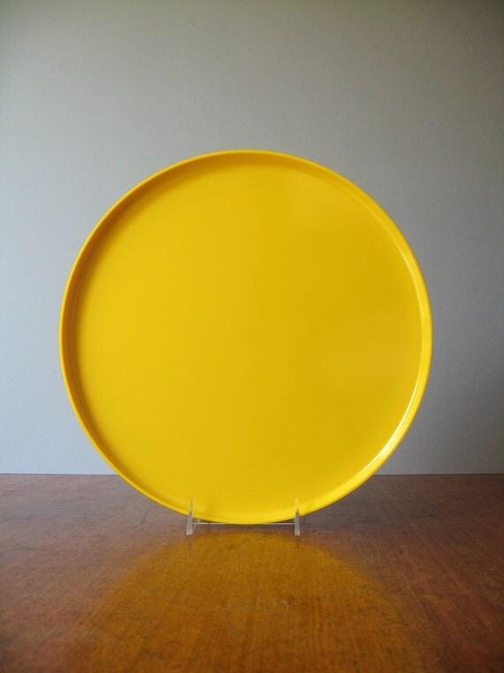 Vintage Heller Vignelli Mod Plastic Tray / Platter - Yellow