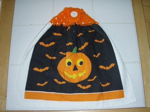 Jack O Lantern Crocheted Hanging Dish Towel (Double)