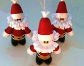 Christmas Decoration Santa Set, Santa Christmas Ornament Set of Three Curly Quilled Paper Crimson Red