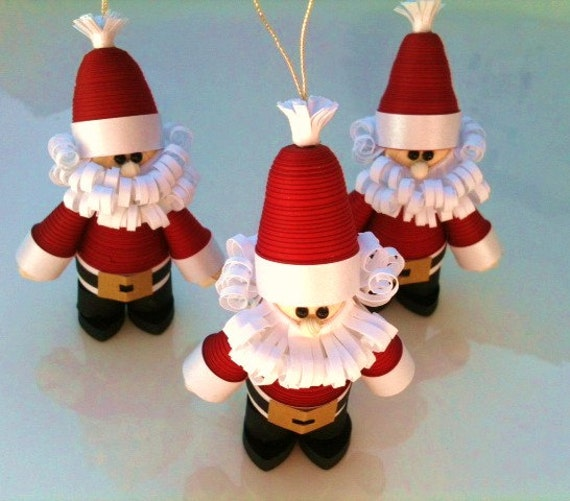 Christmas Decoration Santa Set, Santa Christmas Ornament Set of Three Curly Quilled Paper Crimson Red
