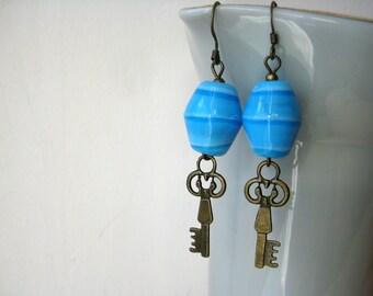 Azure blue glass and brass key dangle earrings - blue earrings - key jewelry