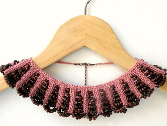 Hand Knit Necklace, Dusty Rose Collar with Brown Wooden Beaded