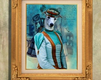 Whippet  Art Print 11 x 14 inch original illustration artwork giclee archival premium poster print By Nobility Dogs