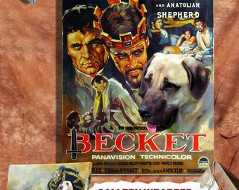 Anatolian Shepherd Dog Vintage Movie Style Poster Canvas Print - Becket Movie Poster Perfect DOG LOVER GIFT Gift for Her Gift for Him