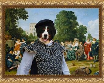 Bernese Mountain Art CANVAS Print Fine Artwork of Nobility Dogs Dog Portrait Dog Painting Dog Art Dog Print