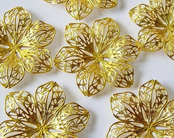 6 Large Gold Plated Brass Filigree Pendant-Wrappers, 40mm/Brass Filigree/Golden Brass Filigree/BRASS Flowers