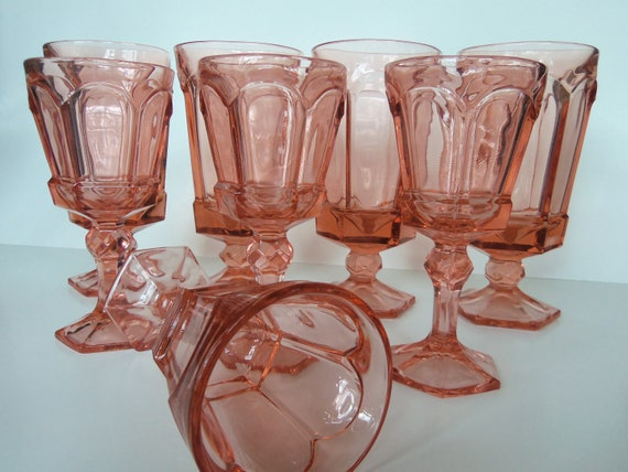 Vintage Pink Glassware Water Goblets And Wine Glasses Set Of