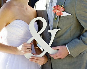 "Ampersand, ""&"" Sign,  Photo Prop or Wedding Decoration Unfinished or Painted, 12"" tall"