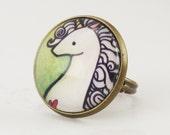 Unicorn Ring, Green Fantasy Jewelry, Adjustable Ring .