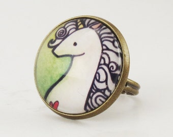 Unicorn Ring, Green Fantasy Jewelry, Adjustable Ring .