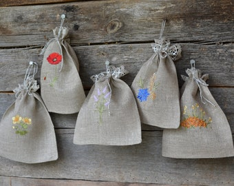 Linen bags - set of 5 natural linen bags with embroidery for presents or herbs