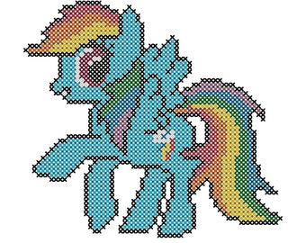 My Little Pony - Rainbow Dash Inspired PDF Cross Stitch Pattern - INSTANT DOWNLOAD
