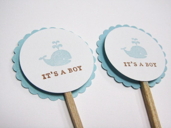 items similar to baby shower cupcake toppers whale nautical handmade shower decorations set of 12 on etsy