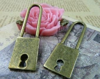 5pcs 14x51mm The Lock Antique Bronze Retro Pendant Charm For Jewelry Necklace Charms Pendants C1195