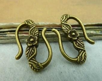20pcs 13x40mm Flower Antique Bronze  Hook Clasps C3225