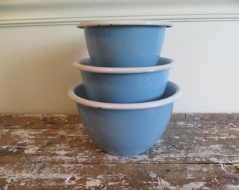 Shabby Blue Bowls Stacking Bowls Kitchen Bowls Serving Bowl Bowl Set Powder Blue Cottage Chic Decor Farmhouse Kitchen Mixing Bowls